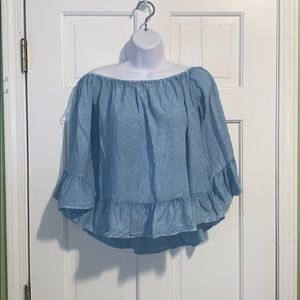 Chambray off the shoulder ruffle blouse
